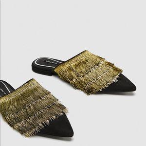 NWT Zara Flat Mules with Fringe